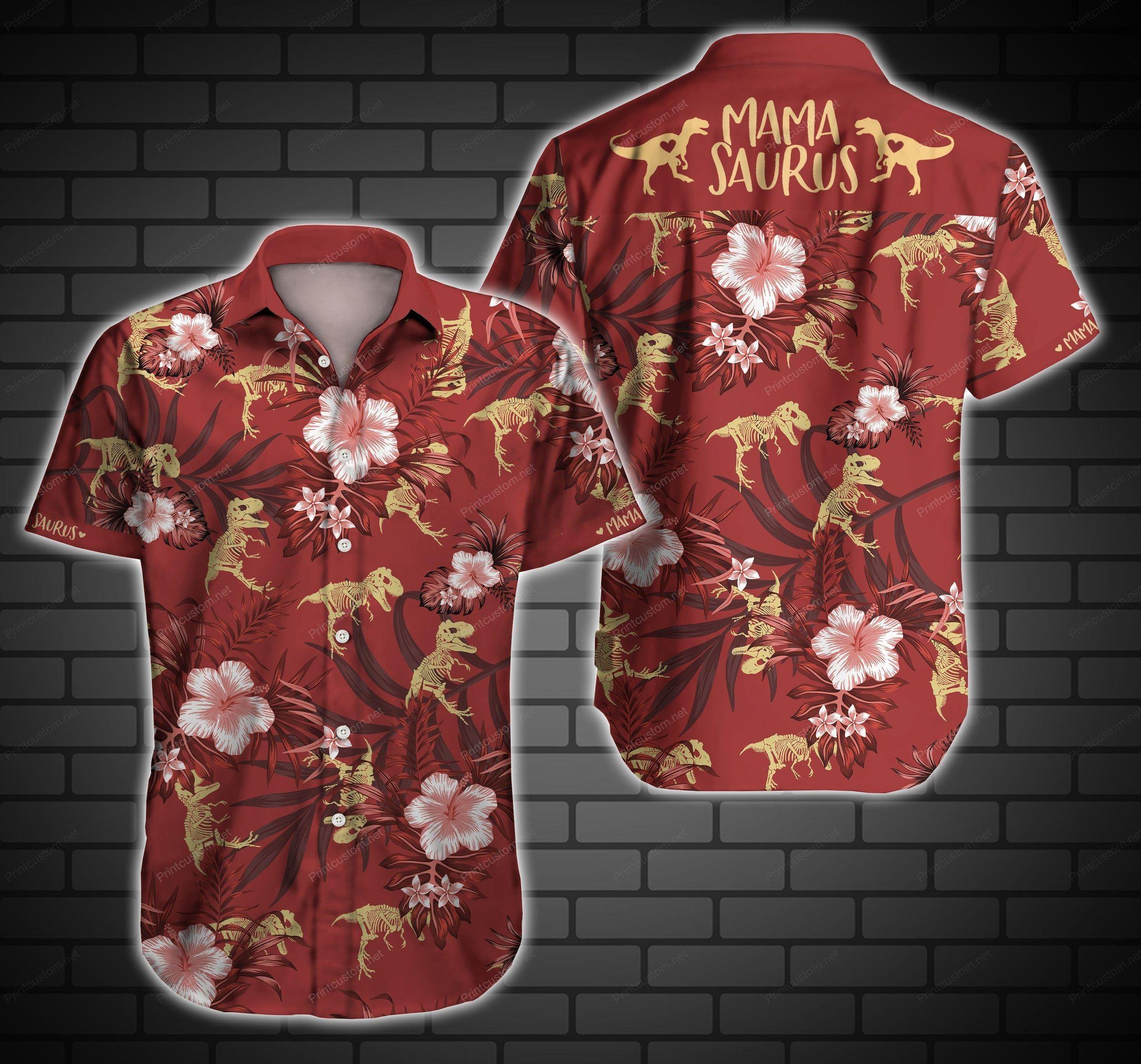 Mamasaurus Red Hawaii Shirt Summer Beach Wear
