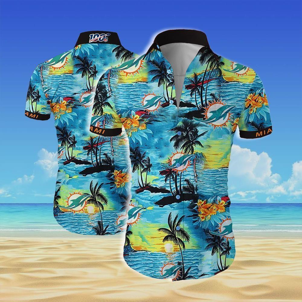 NFL Miami dolphins team Beach Island Hawaiian Shirt
