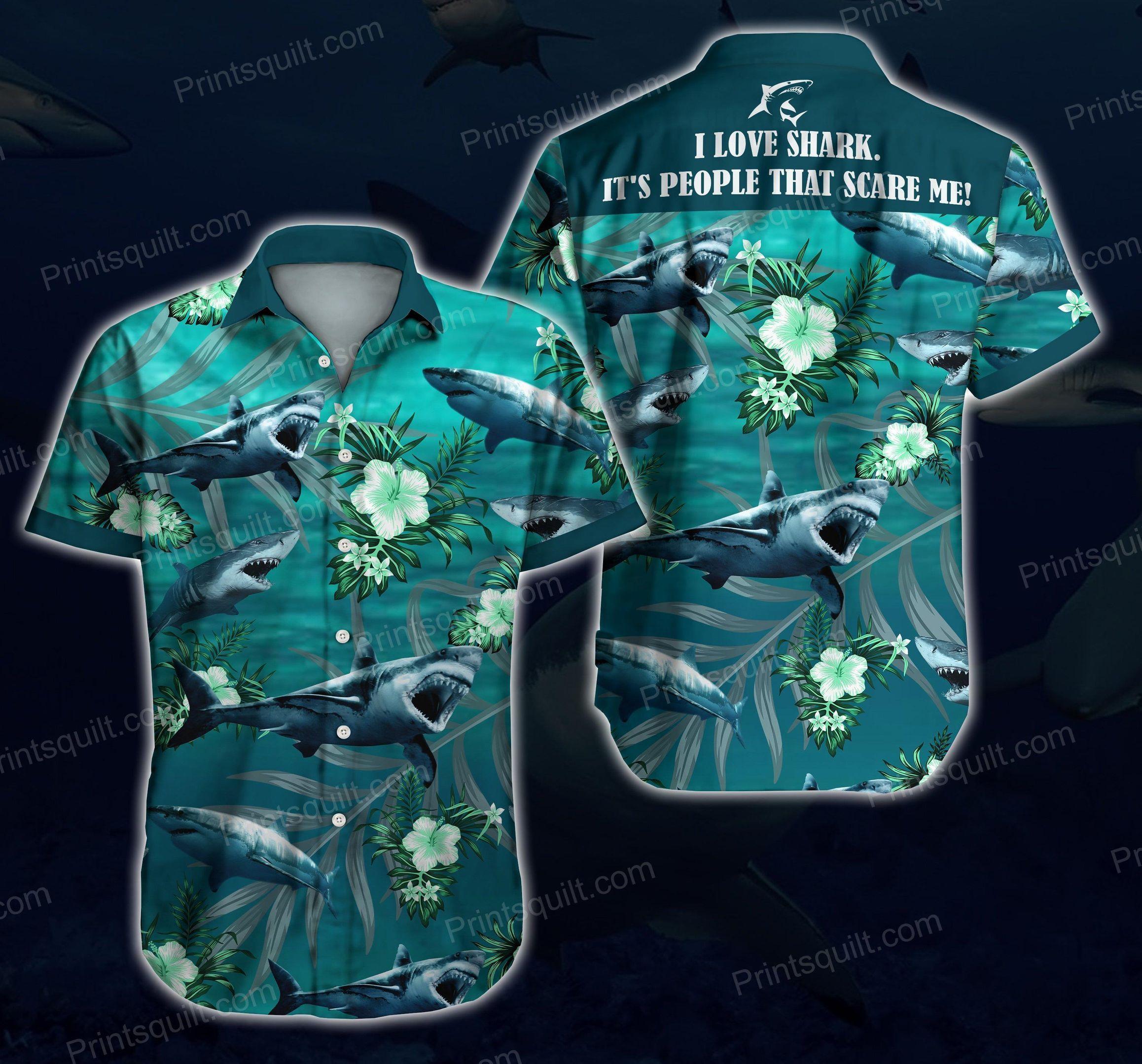 I love Sharks Scare me 3d Hawaii Shirt