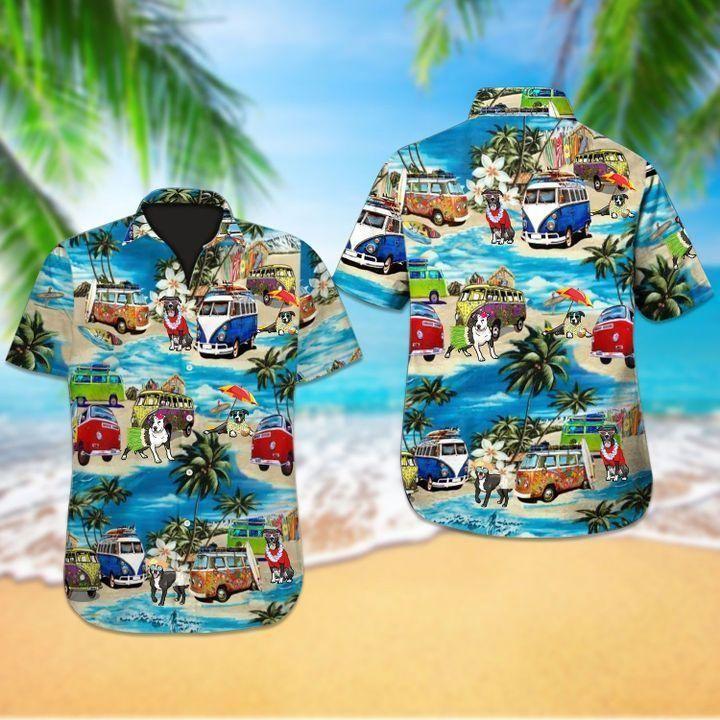 Beach Hawaii pitbull dog Hawaiian Shirt Summer Shirt