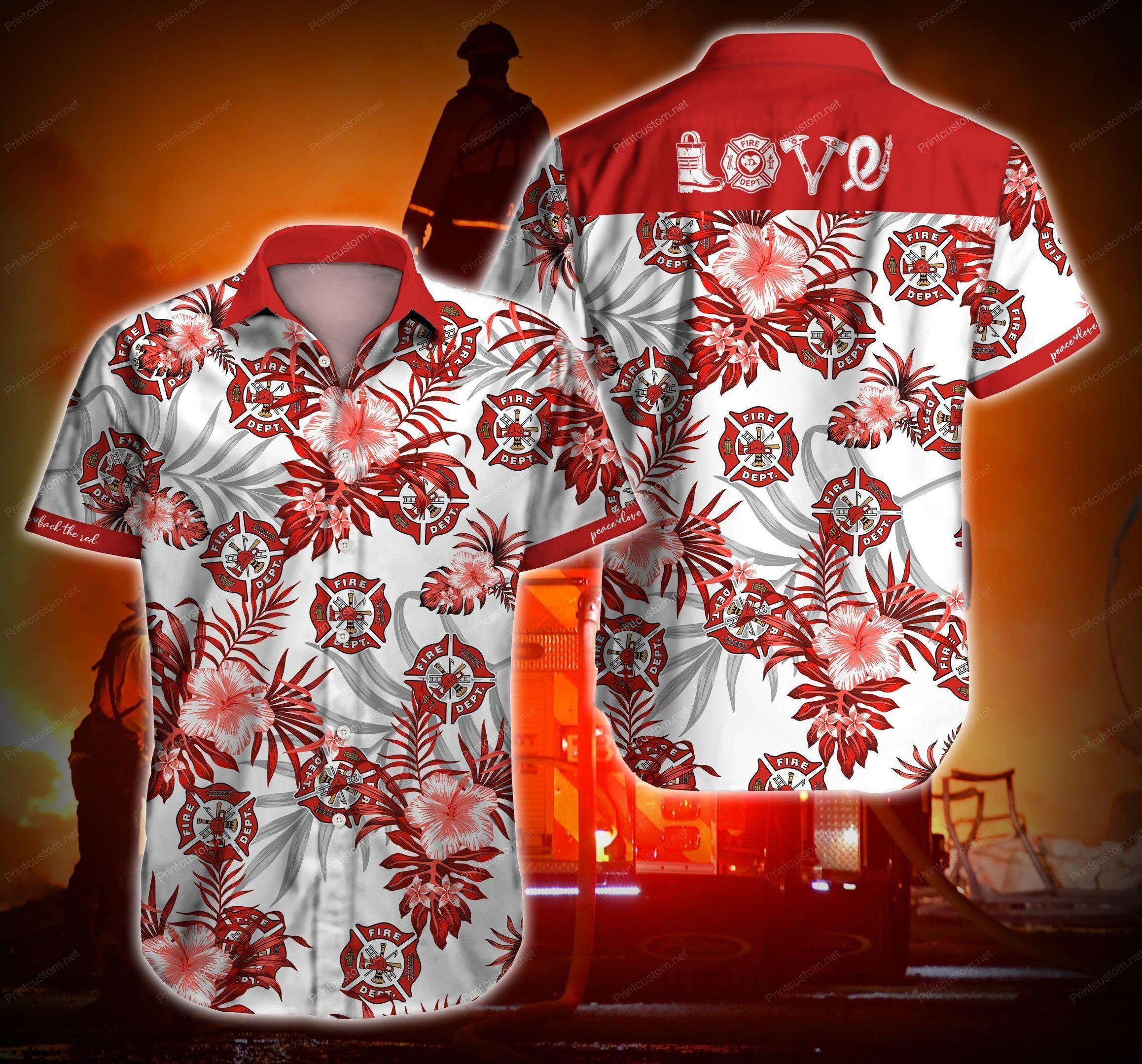 Firefighter Love Red Hawaii Shirt Summer Beach Wear