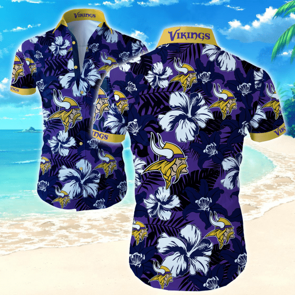 Nfl Minnesota Vikings Floral dark tone Hawaiian Shirt