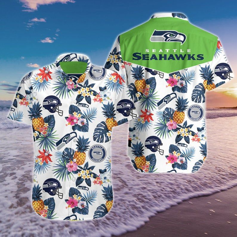 NFL Seattle Seahawks pineapple floral Hawaiian Shirt Summer Beach Shirts