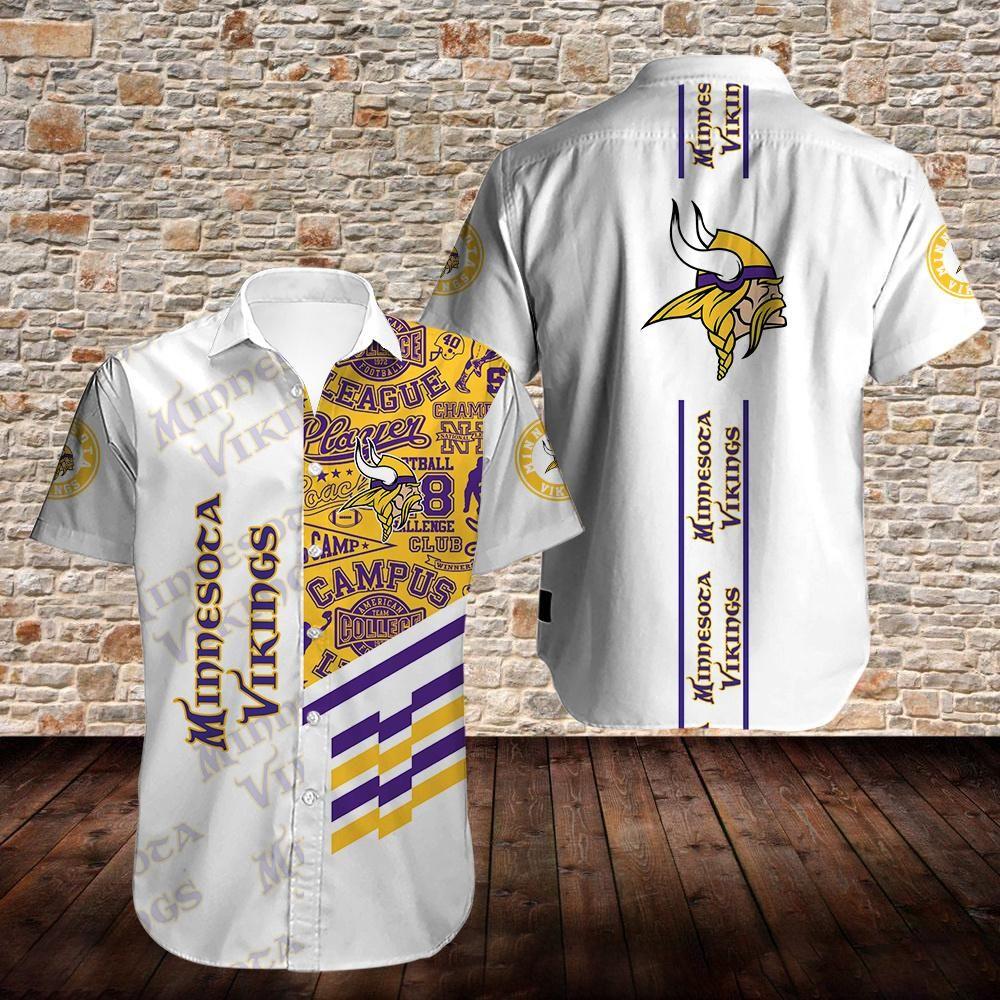Minnesota Vikings white version Hawaiian Shirt Summer Shirt