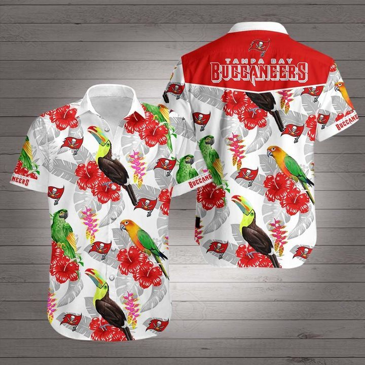 NFL Tampa Bay Buccaneers parrot and toucan Hawaiian Shirt