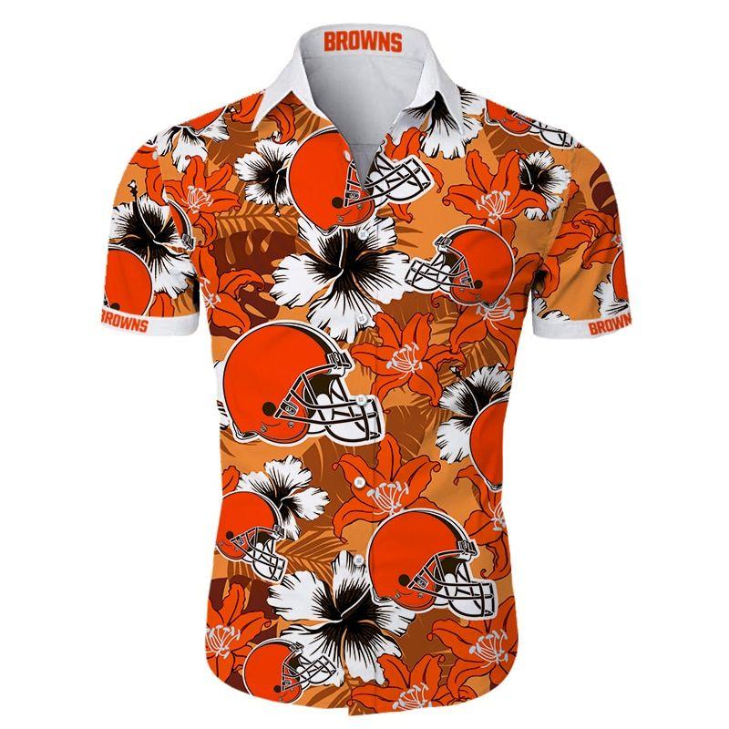 NFL Cleveland Browns Tropical Flower Hawaiian Shirt