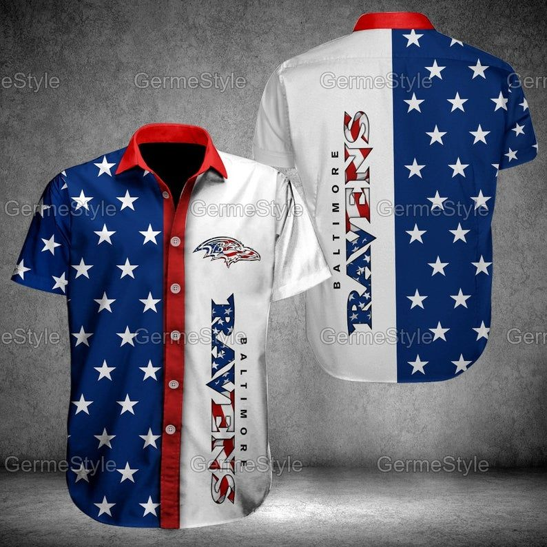 Baltimore Ravens American Flag Hawaiian Shirt