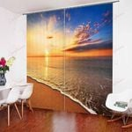 Natural Seaside Scenery Sunset XM0608191CL Window Curtains