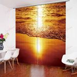 Natural Seaside Scenery Sunset XM0608185CL Window Curtains