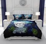 Navy Blue Twilight Moon And Crow Gothic Skull XM2808206CL Bedding Set