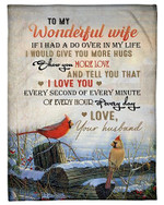 To My Wife I Love You Every Hour Of Every Day YC0309551CL Fleece Blanket