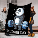Panda The Struggle Is Real Weightlifting Fitness Gym YC0209073CL Fleece Blanket