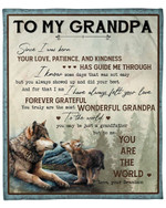 To My Grandpa From Grandson Wolf Forest YC1009243CL Fleece Blanket