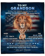 To My Grandson From Grandpa Lion American Flag YC1009255CL Fleece Blanket