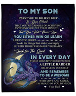 To My Son From Dad Dragon Moon YC1009303CL Fleece Blanket