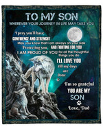 To My Son From Dad Wolf Moon YC1009311CL Fleece Blanket