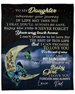 To My Daughter From Dad Butterfly YC1009132CL Fleece Blanket