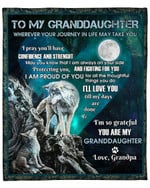 To My Granddaughter From Grandpa Wolf Moon YC1009222CL Fleece Blanket
