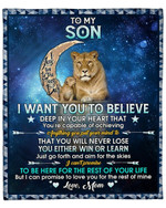 To My Son From Mom Lion Moon YC1009320CL Fleece Blanket