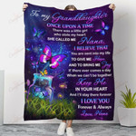 Butterfly To My Granddaughter Keep Me In Your Heart YC1009019CL Fleece Blanket