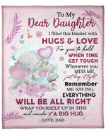 To My Dear Daughter From Dad Elephant YC1009198CL Fleece Blanket