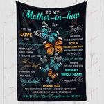 Butterfly To My Mother In Law Thank You Mom YC1009025CL Fleece Blanket