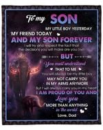 To My Son From Dad Elephant Crown YC1009304CL Fleece Blanket