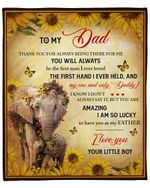 To My Dad From Son Elephant With Sunflower YC1009119CL Fleece Blanket