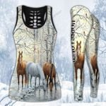 Three Horses In Winter Forest Hoodie and Legging Set