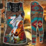 Native American Brown Turquoise Horse Hoodie and Legging Set