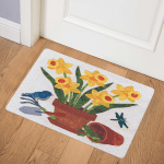 Daffodil Bouquet With Frog CLA08110377Q Door Mat
