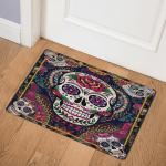 Sugar Skull Floral Skull  ABC07112187 Door Mat