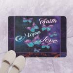 Faith Hope And Love Fleece  Bath Mat