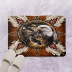 Native American Bead Cross mandala Eagle Bath Mat