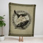 Norse Raven Hugin And Munin Viking Fleece Blanket 239