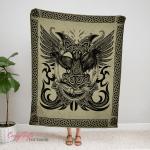 Hugin And Munin Ravens, Viking Fleece Blanket 239