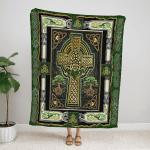 Viking Irish cross yggdrasil Fleece Blanket 079