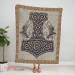 Mjolnir Viking Ravens Fleece Blanket 216
