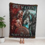 Spirit Of A Vikings, Heart Of A Wolf Fleece Blanket 165
