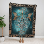 Viking Compass Yggdrasil Fleece Blanket 244