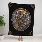 Viking Dragon Fleece Blanket 128