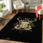 Wicca Deer Heads With Horns And Moon W029 Area Rug