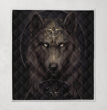 Native American Wolf 348 Quilt Blanket