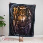 Native American Wolf 347 Fleece Blanket