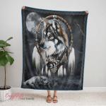 Native American Wolf 346 Fleece Blanket