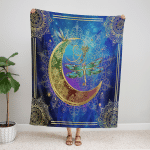 Wicca Native Dragonfly And Moon 407 Fleece Blanket