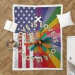Love Is Love Pride Hippie American 409 Shepra Blanket