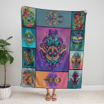 Wicca Lunar Moth 412 Fleece Blanket