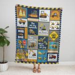 Heavy Equipment Boy, I Love You Quilt  404 Fleece Blanket