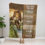 God Says You Are Lion & Lamb 413 Fleece Blanket